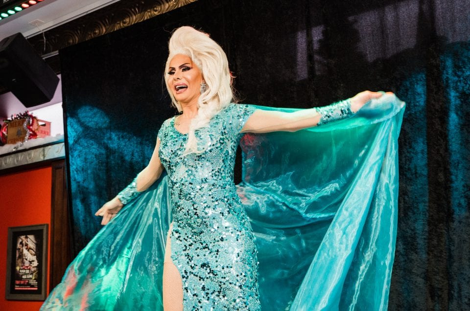 holiday party drag queen elsa costume