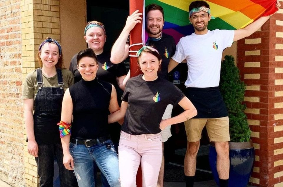 two hearted queen boystown coffee shop opening employees pride flag boystown chicago