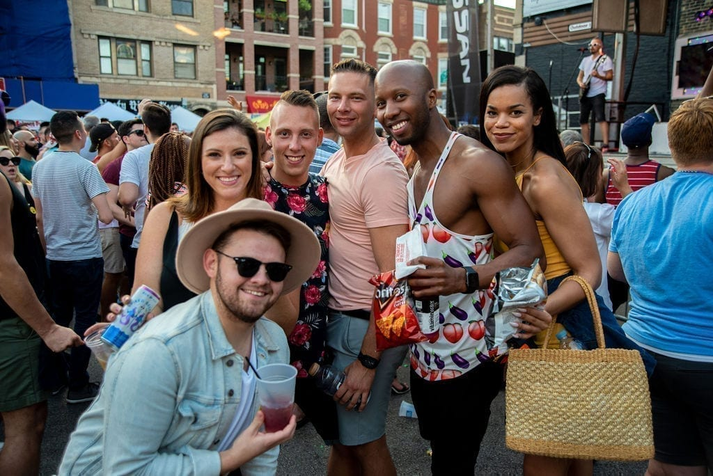 northalsted market days audience smiling posing bud light chicago boystown lakeview