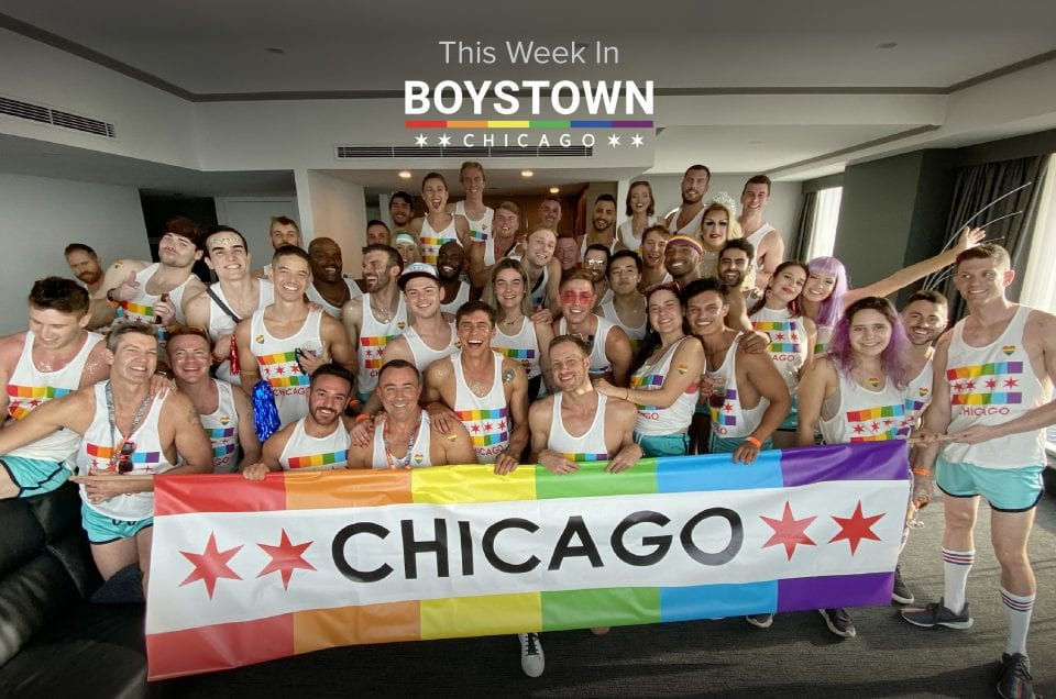 this week in boystown chicago; group holding chicago pride flag