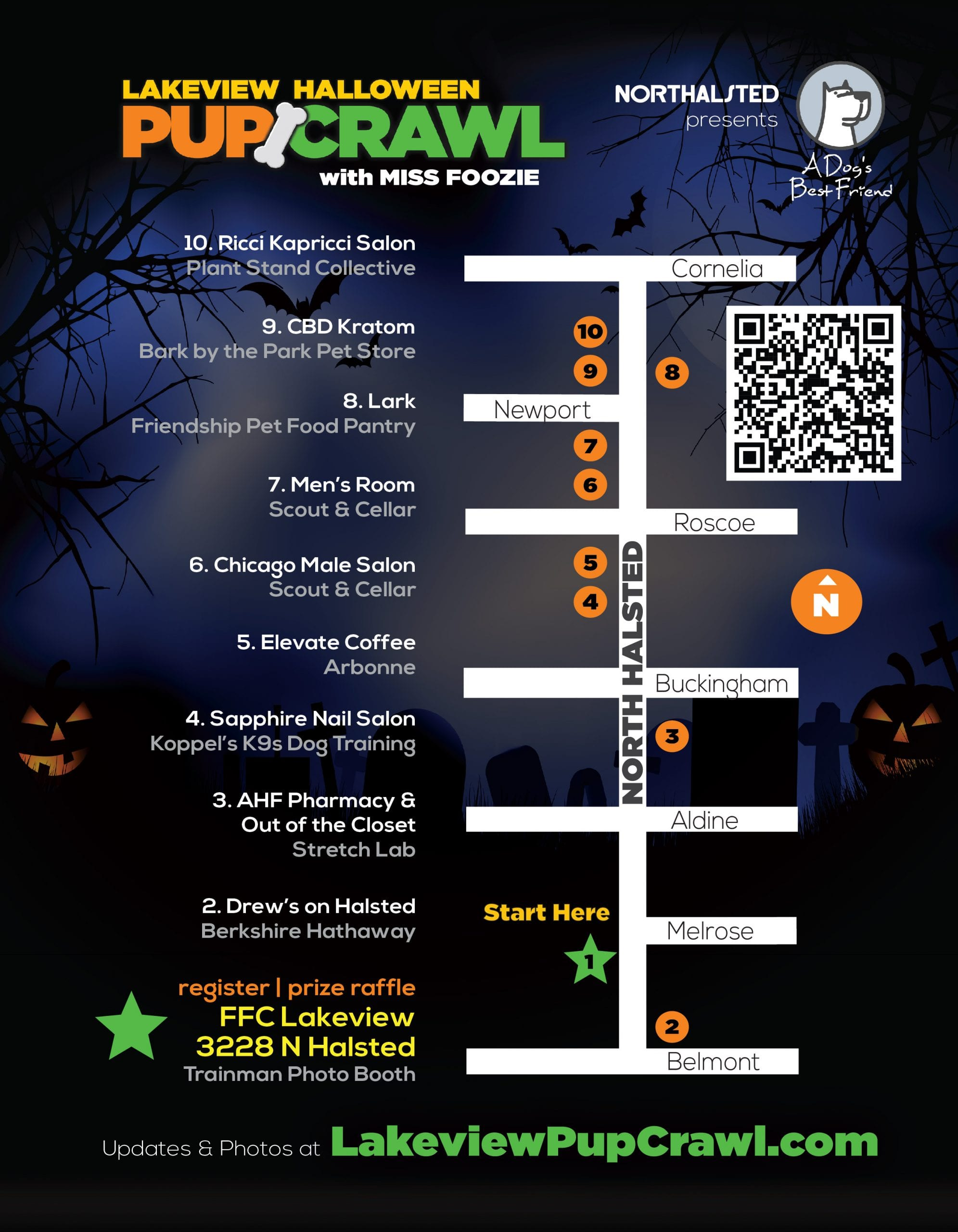 lakeview halloween pup crawl map chicago trick or treat boystown northalsted