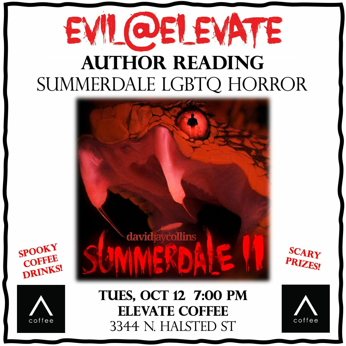 david jay collins at elevate coffee northalsted chicago summerdale lgbtq novel horror