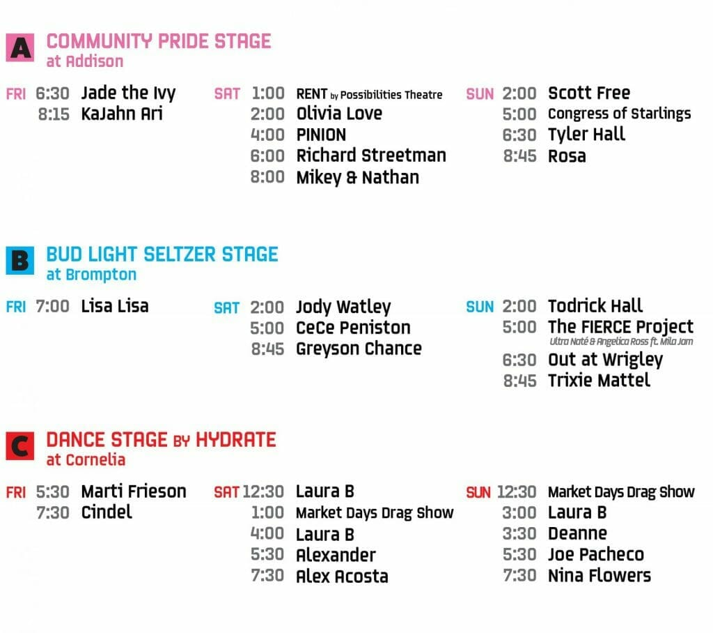 northalsted market days 2021 stage schedule a b c